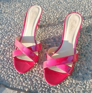 Red Solanz Slip on Sandal Heels
